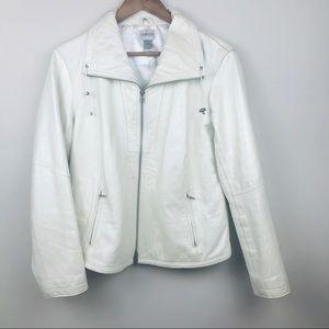 CHICO's Pearl White Moto Genuine Leather Jacket 2